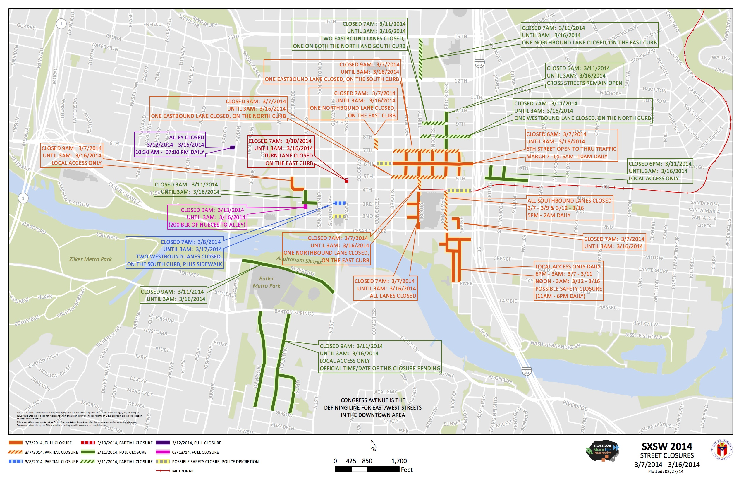 Map All The Streets Downtown Closed for SXSW Austinist